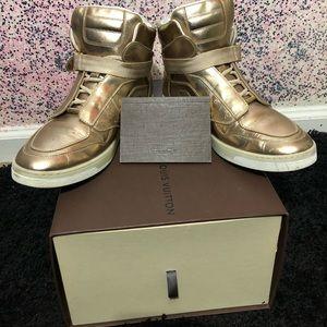 386cd5107c7b Louis Vuitton Shoes - Louis Vuitton Metallic Gold Leather HighTop Sneaks